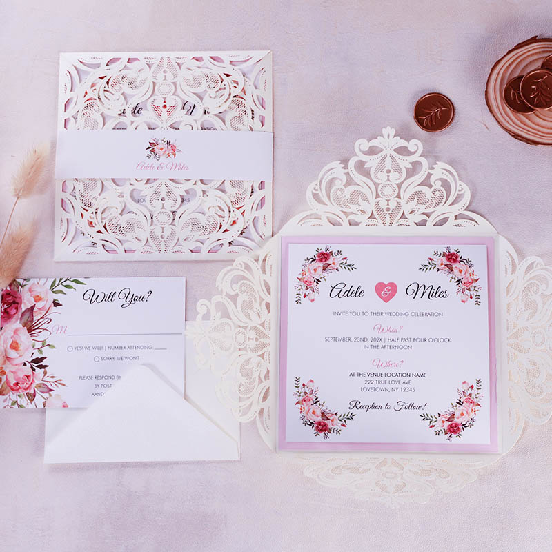 Rustic Blush Pink Flower with Ivory Laser Cut Invitations PBWED082