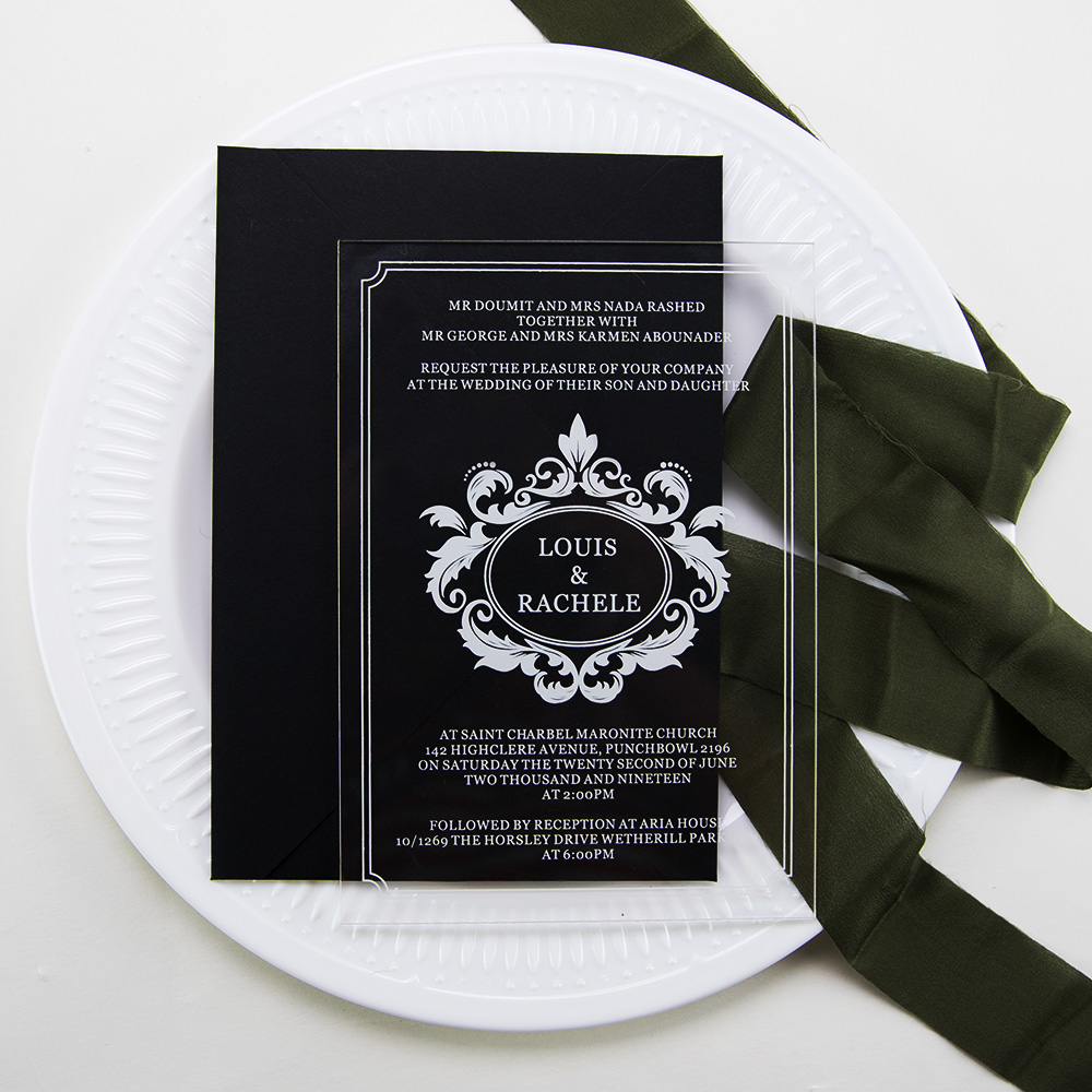 Modern Script Acrylic Wedding Invitations Thickness 2mm with UV Printing PBWED085