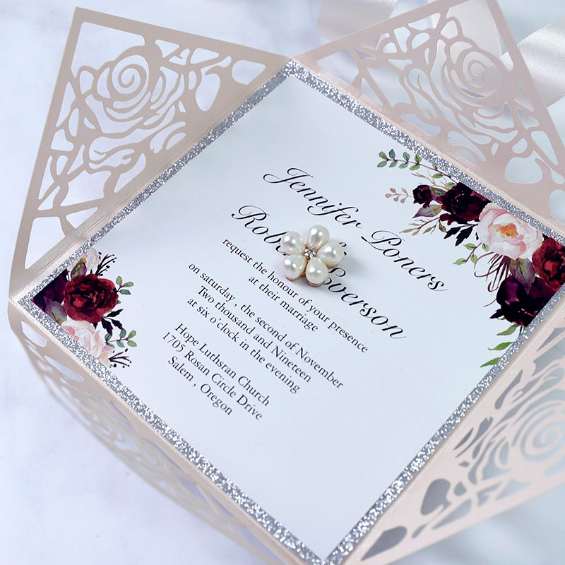Rustic Marsala And Blush Floral Rose Gold Wedding Invitation Set PBWED087