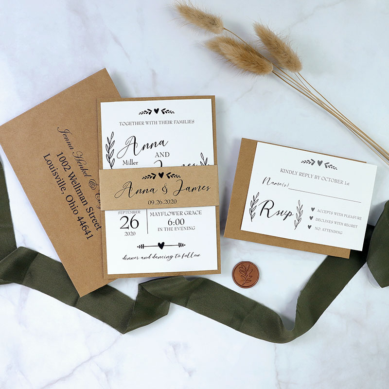 Rustic Leaves Wedding Invitation With Classic Craft Envelope PBWED088