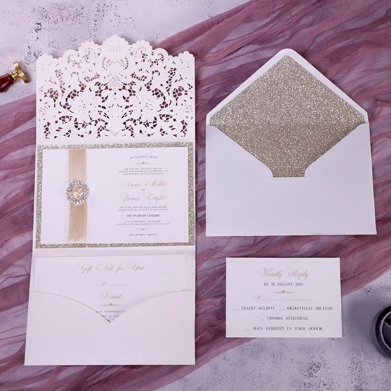 Formal Elegant Ivory And Champagne Gold Glittery Pocket Wedding Invitations With Bling Reinstone PBWED090
