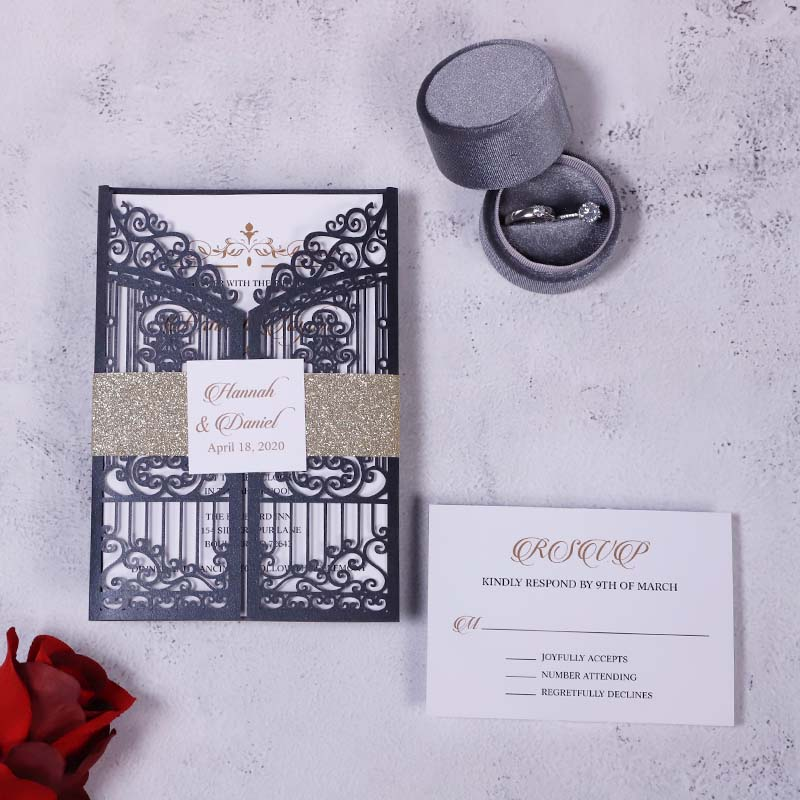 Vintage Intricate Black Laser Cut Gate-folded Wedding Invitation PBWED091