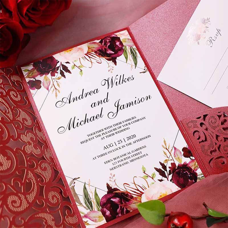 Burgundy Laser Cut Pocket Fold With Floral And Geometric Invitation PBWED092