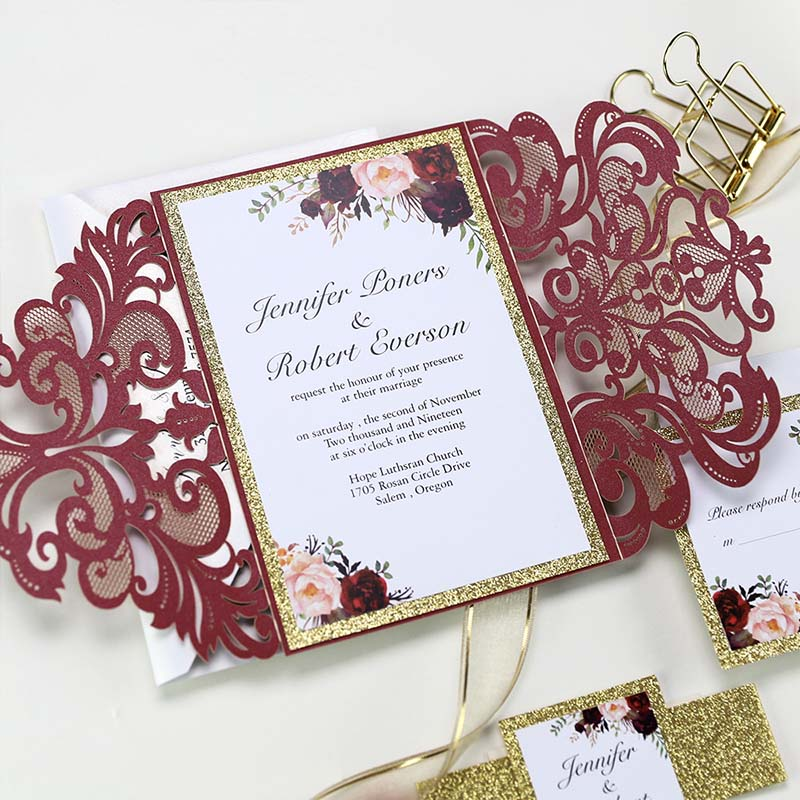 Burgundy Shimmer Laser Cut Wedding Invite With Gold Glittery Belly Band PBWED094
