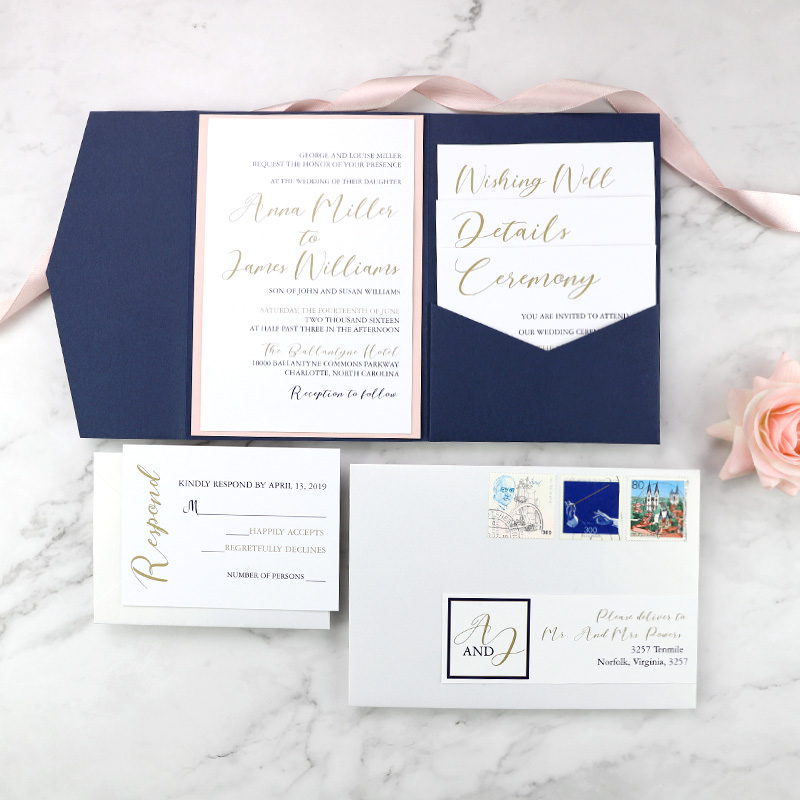 Blush, Gold and Navy Pocket Stacked Style Wedding Invitation Suite PBWED095