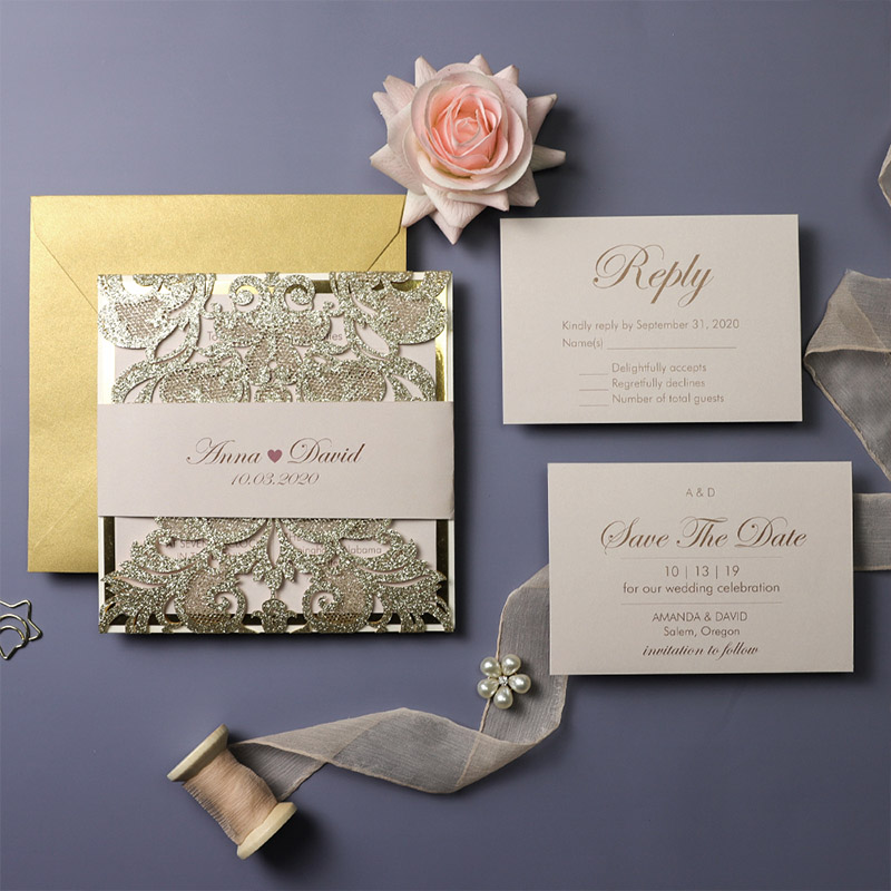 Champagne Gold And Blush Laser Cut Wedding Invitation PBWED096