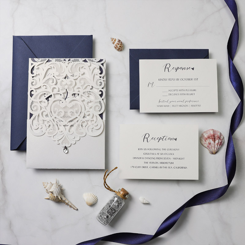 Classic White Pocket Laser Cut Wedding Invitations With Navy Blue Backer PBWED097