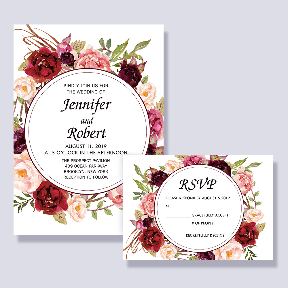 Blush Burgundy Floral Modern Boho Wedding Invitation PBWEDF001