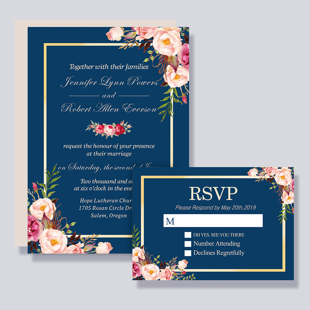 Rustic Burgundy Floral Gold Navy Blue Wedding Invitation PBWEDF003