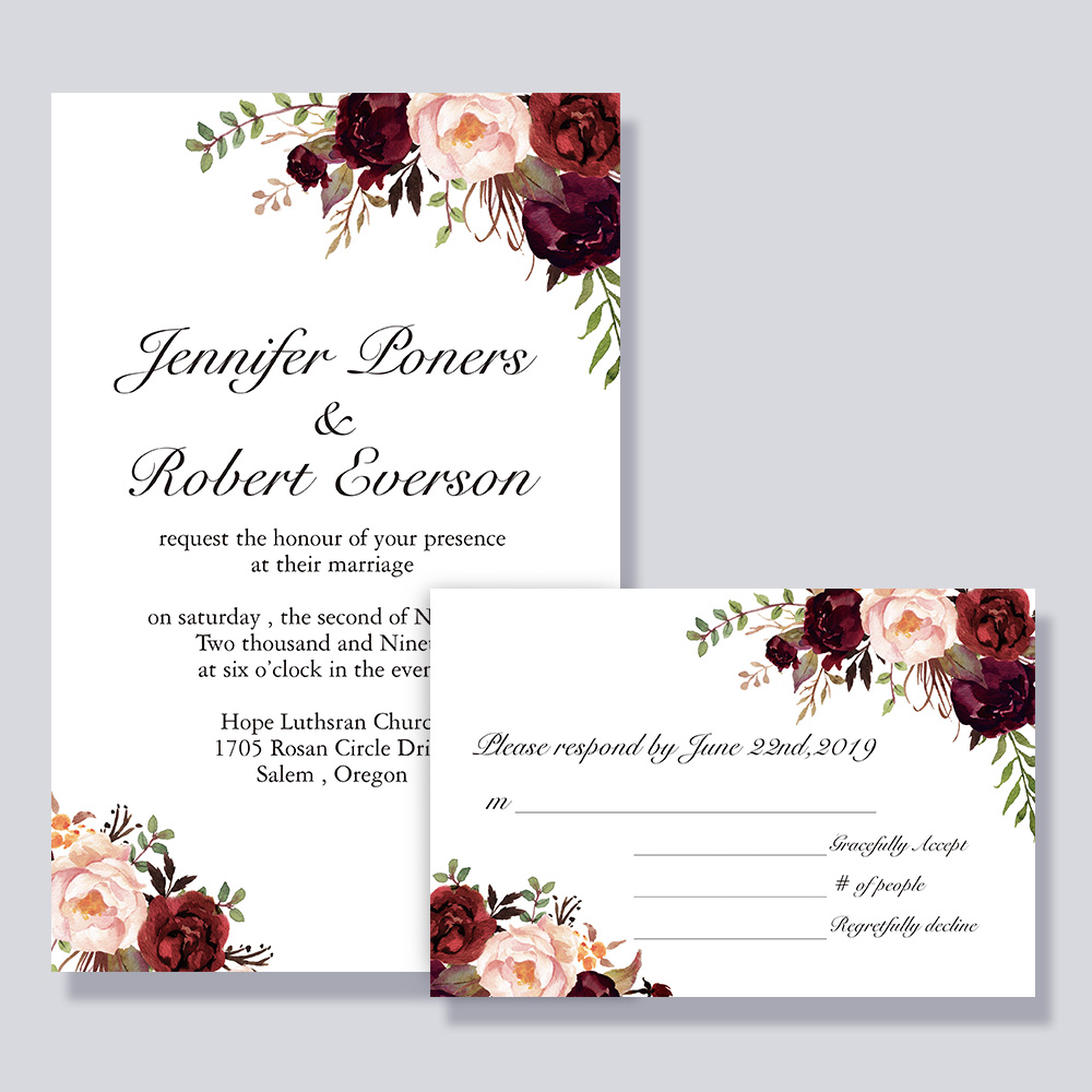 Red Burgundy Floral Rustic Wedding Invitation PBWEDF005