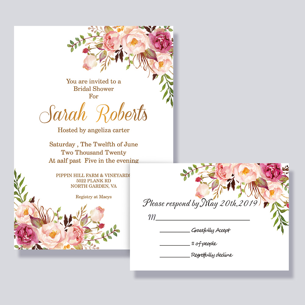 Exquisite Pink Floral Romantic Wedding Invitations PBWEDF006