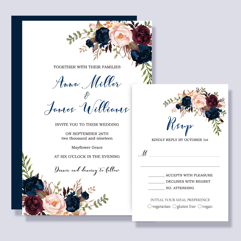 Romantic Navy Blue And Pink Floral Wedding Invitations PBWEDF007