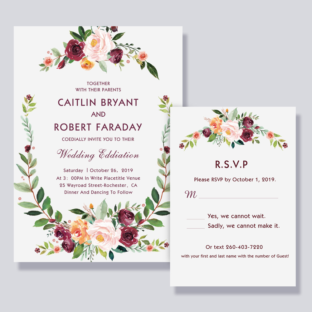 Plum Purple Mauve Pink Floral Wedding Invitation PBWEDF008