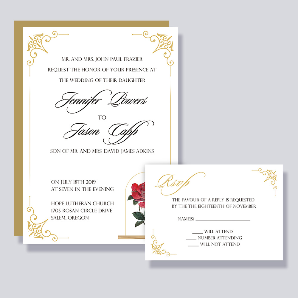 Beauty and the Beast Fairytale Wedding Invitation PBWEDF009