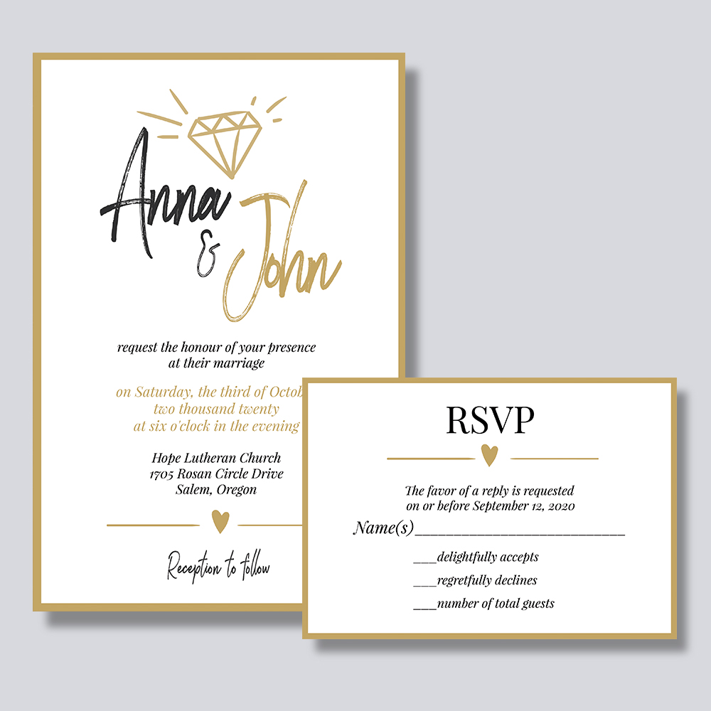Modern And Romantic Wedding Invitation With Gold Script Wordings PBWEDF013