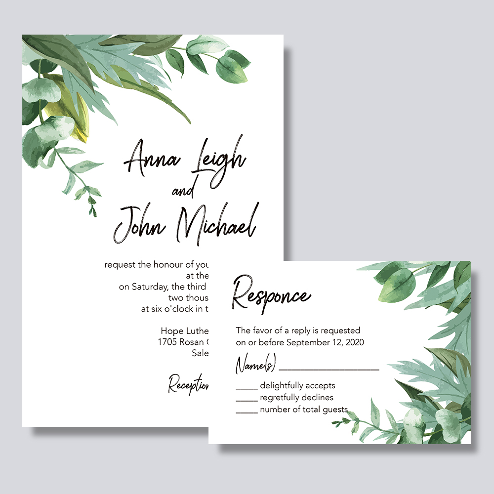Greenery Wisps-invitation With Script Wordings PBWEDF014
