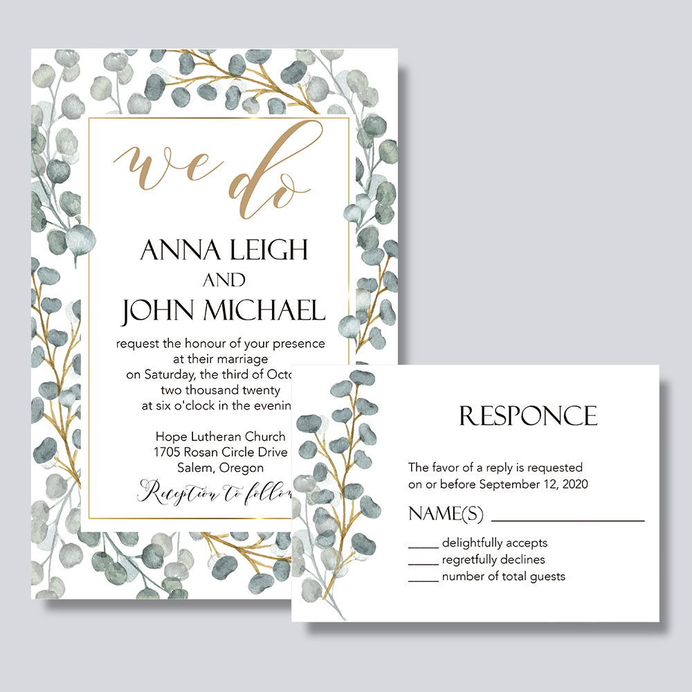 Framed Greens-invitation With Greenery Leaves PBWEDF015