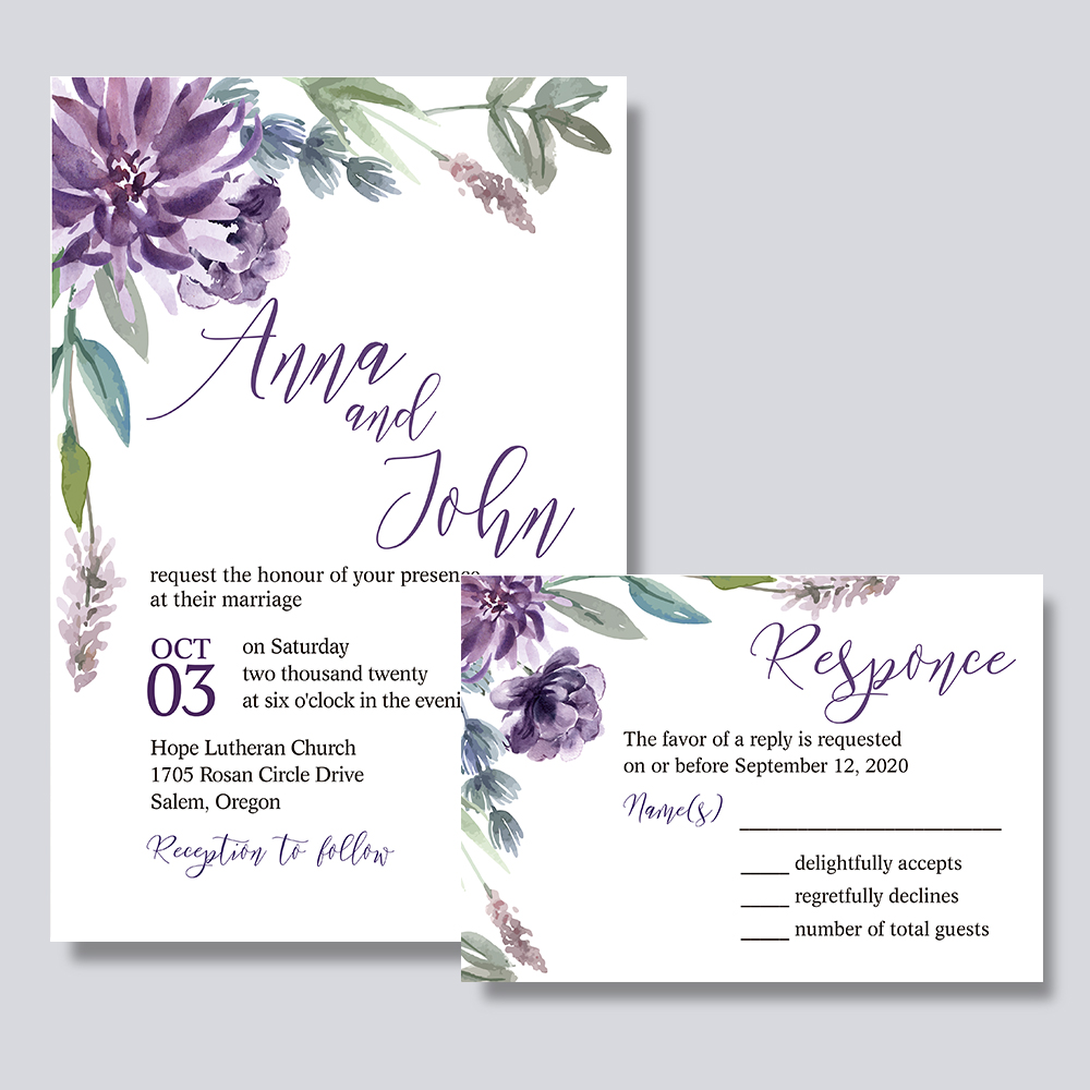 Lavender Floral Print In Corners White Wedding Invitations PBWEDF016