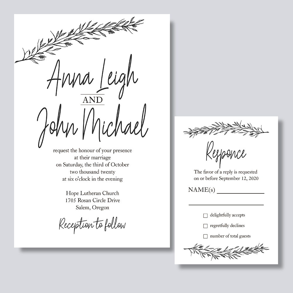 Slanted Script- Slanted Names On White Wedding Invitation Cards PBWEDF017