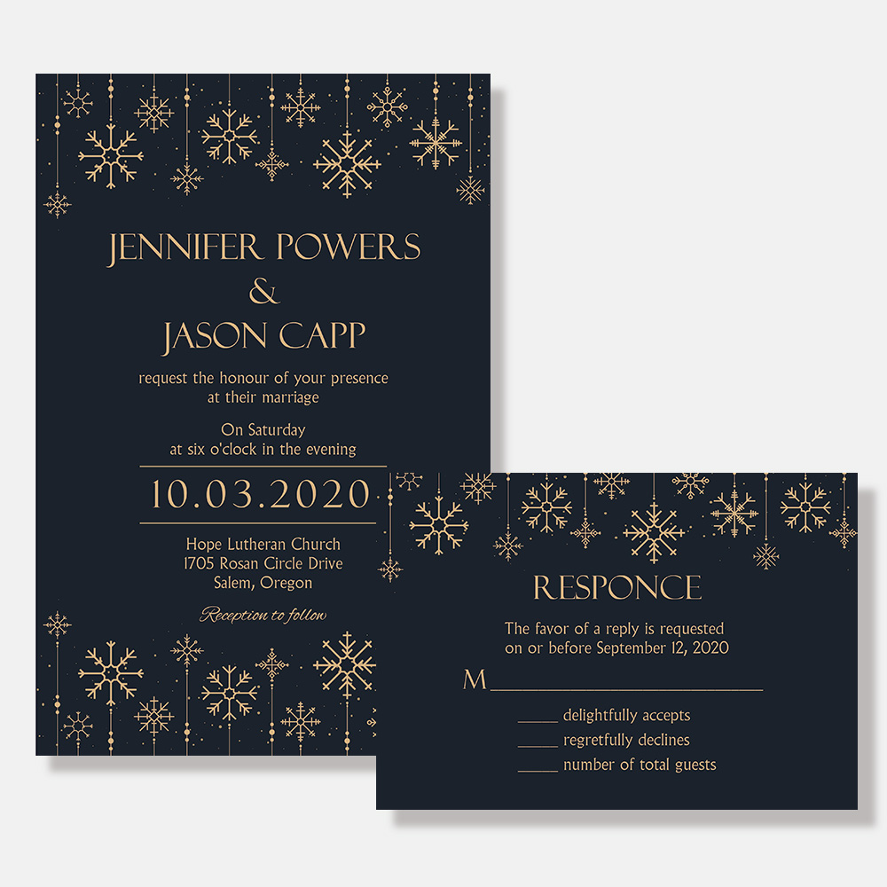 Winter Snowflake Wedding Invitation PBWEDF018