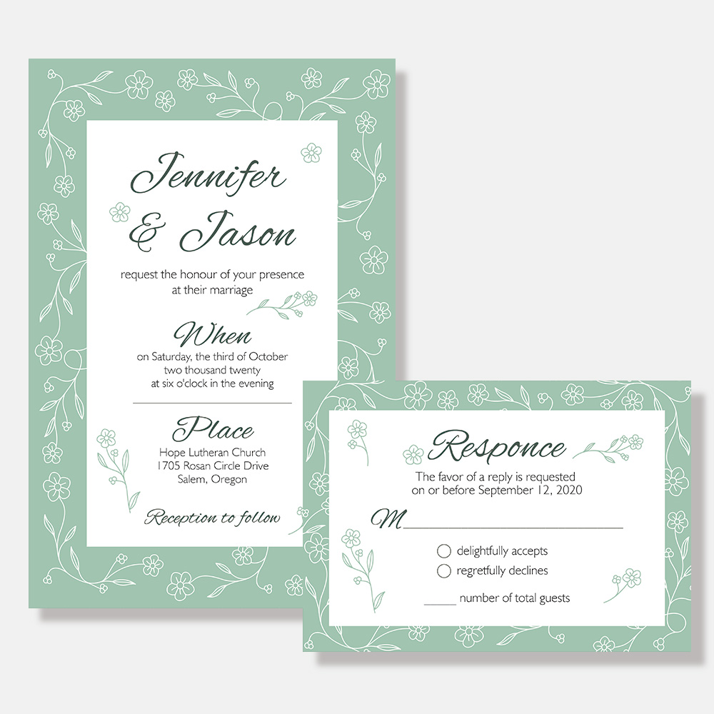 Winter Snowflake Wedding Invitation PBWEDF019