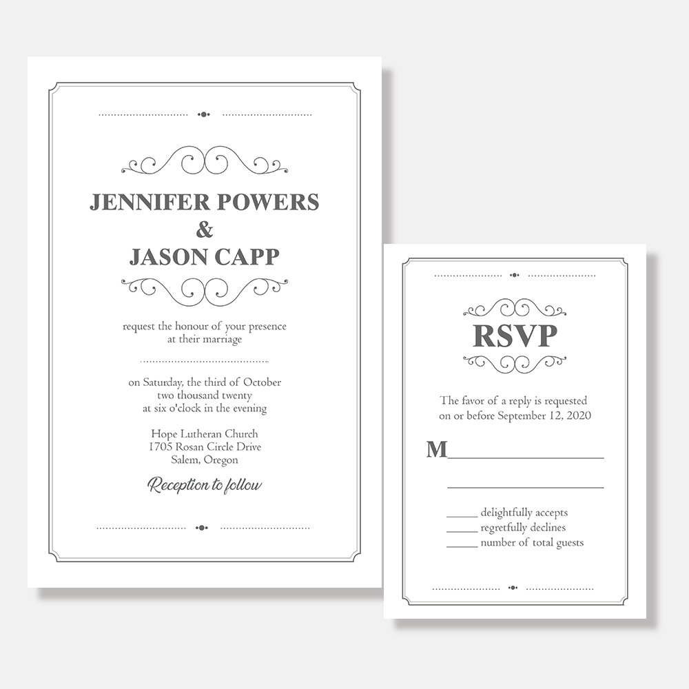 Simple Elegance Wedding Invitation PBWEDF020