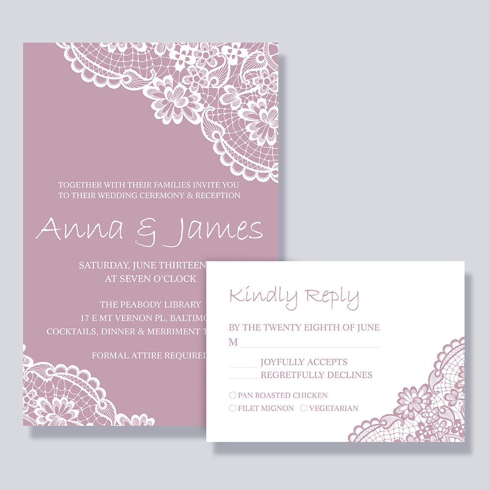Elegant Mauve Colors Lace Vintage Wedding Invitation PBWEDF021