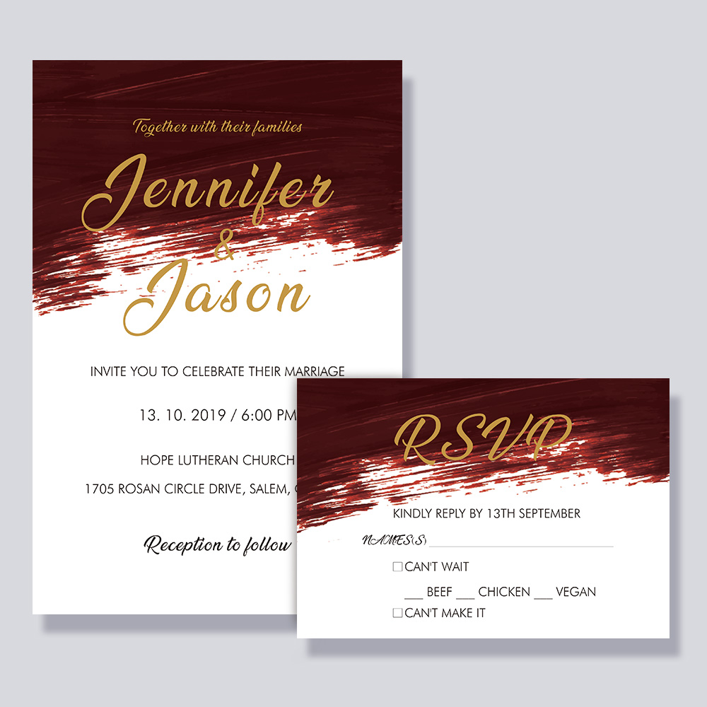 Modern Burgundy Watercolor Wedding Invitation PBWEDF022