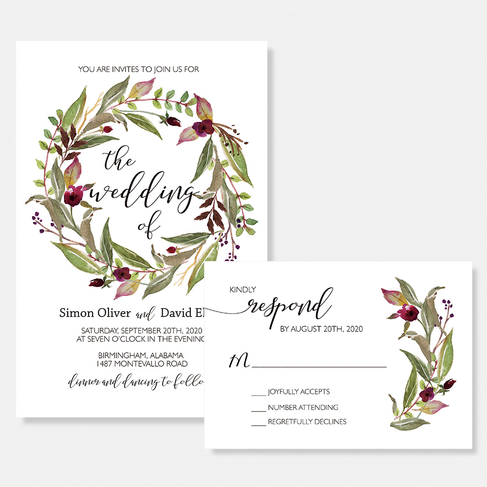 Rustic Green Garden Loop Wedding Invitation PBWEDF023