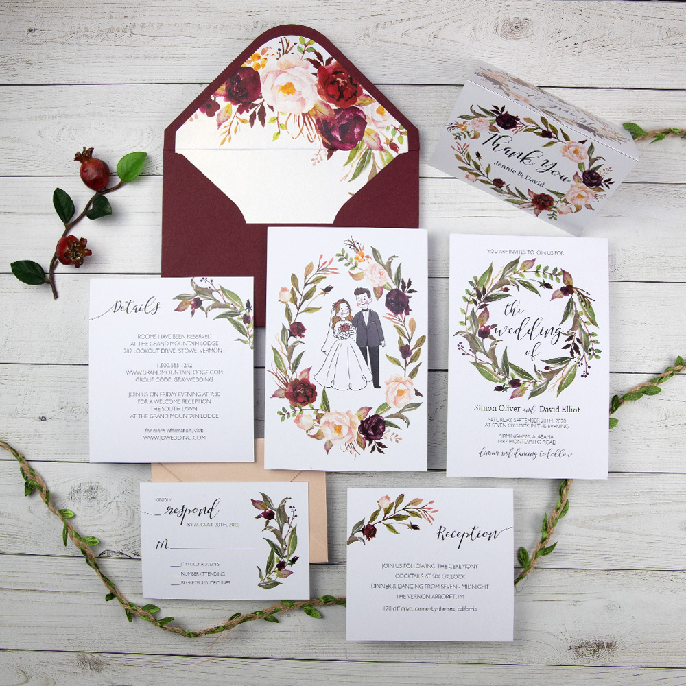 Marsala Burgundy Blush Watercolor Floral Wedding Invitation Cards PBWEDF024