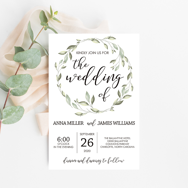 Eucalyptus Sage Greenery Loop Wedding Invitation PBWEDF025