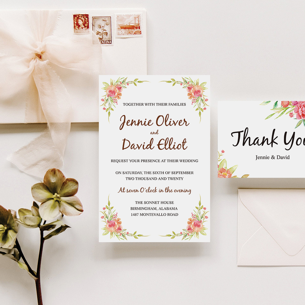 Corals, Orange, Pinks And Greens Colorful Floral Wedding Invitation Cards PBWEDF026