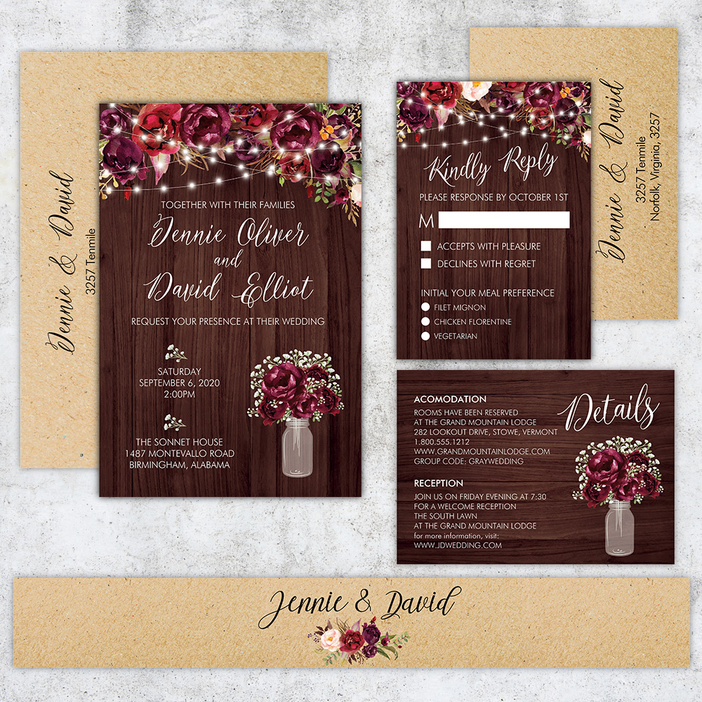 Rustic Baby's Breath Burgundy Mason Jar Country Kraft Wedding Invitation PBWEDF027