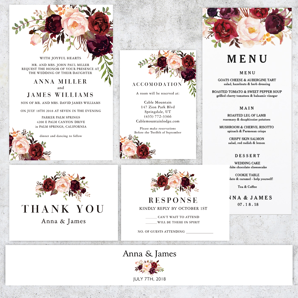 Rustic Marsala Burgundy And Blush Floral Wedding Invitation Suite PBWEDF028