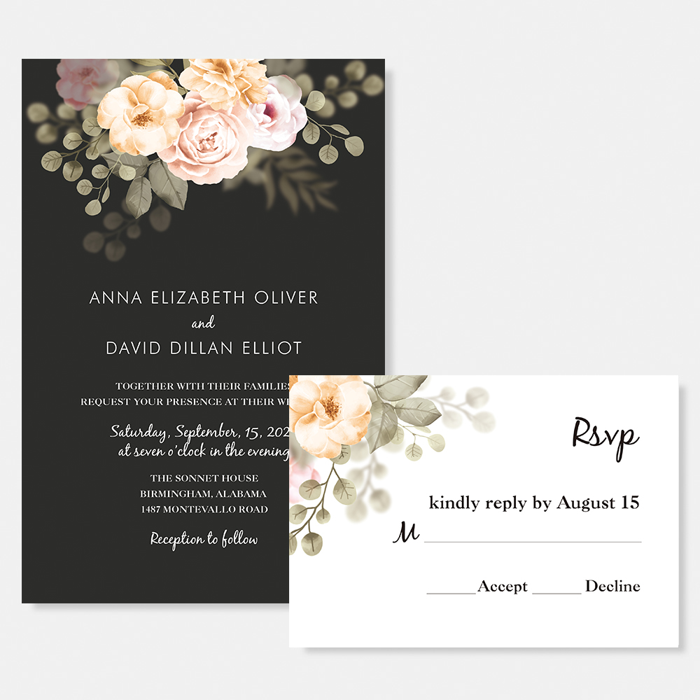 Secret Garden Peach and Blush Floral Wedding Invitation Cards PBWEDF029