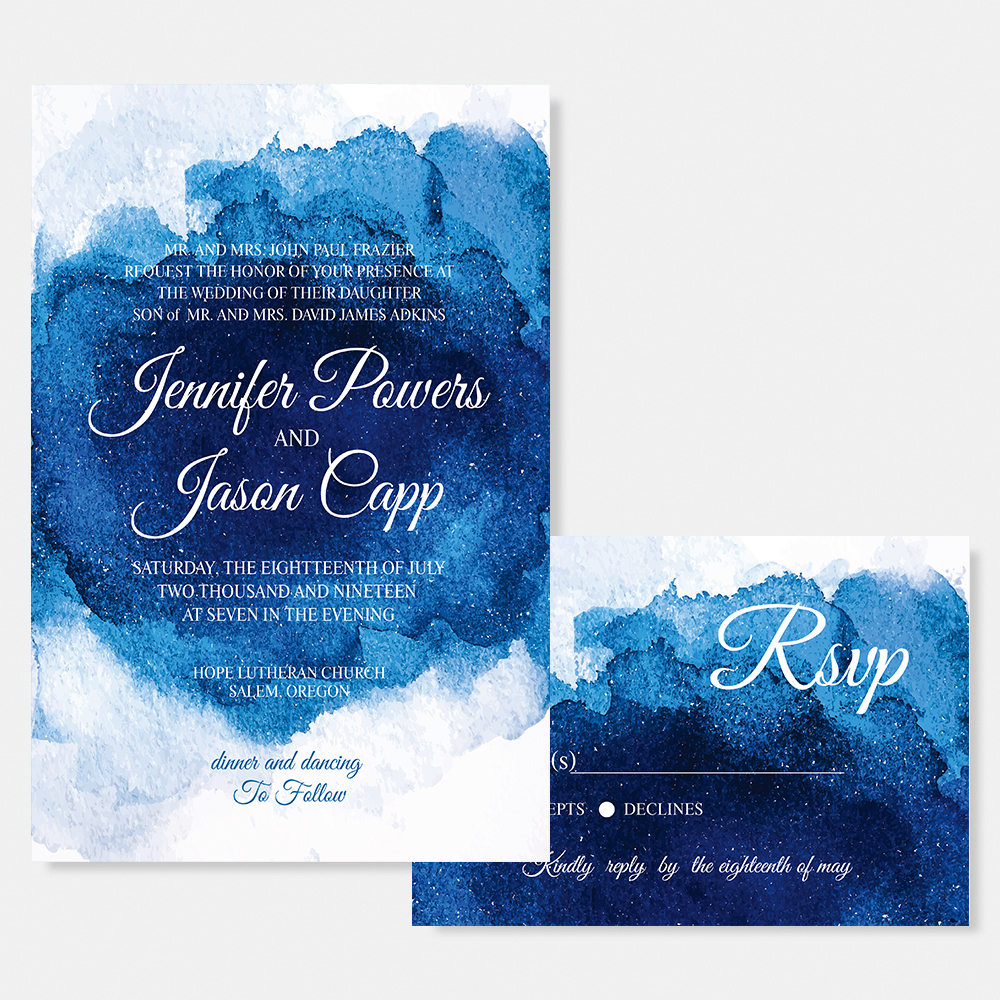 Blue Ocean Watercolor Splendor Wedding Invitation Cards PBWEDF030