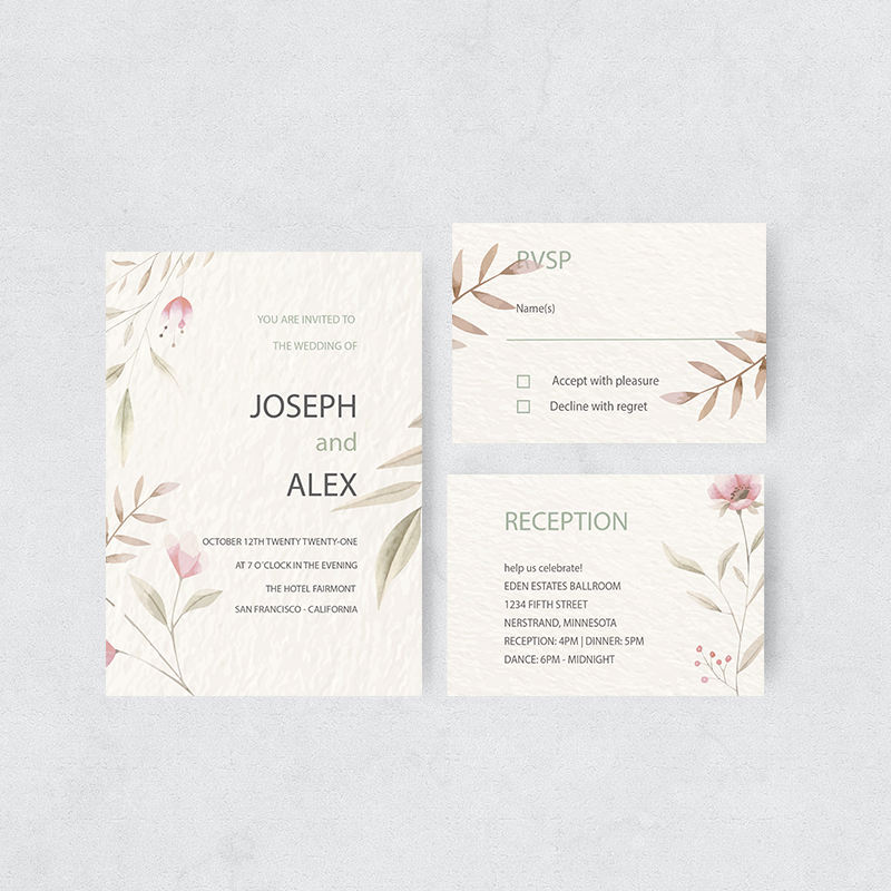 Vintage Watercolor Floral Wedding Invitations PBWEDF035