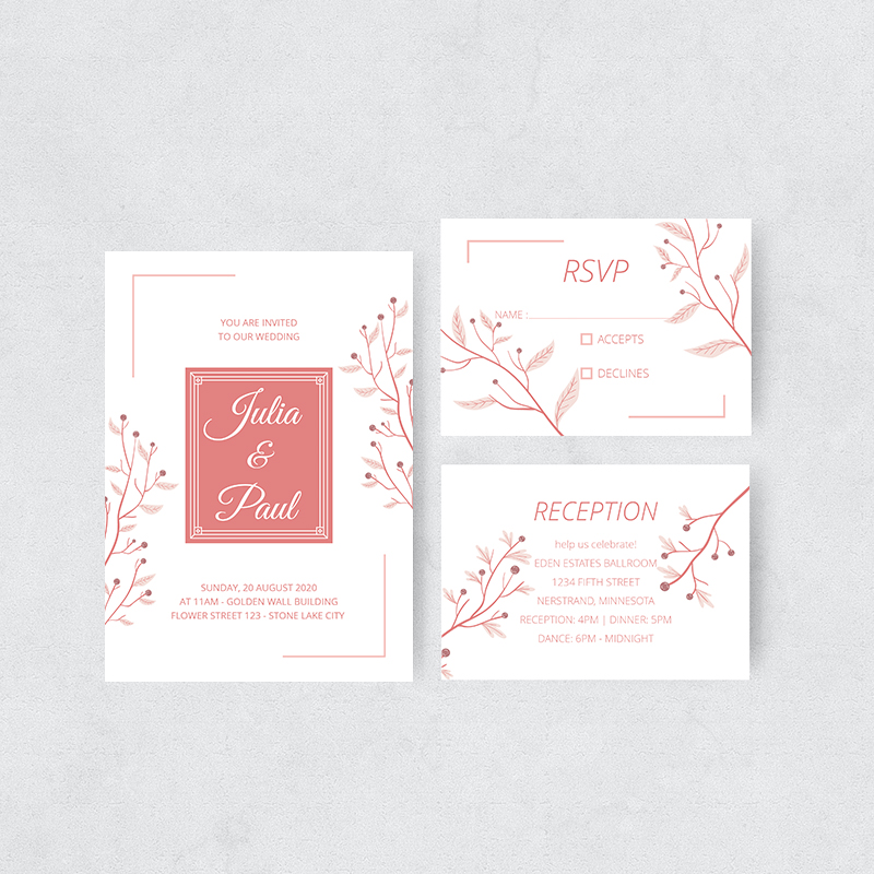 Debonair Coral Branch Wedding Invitations PBWEDF036