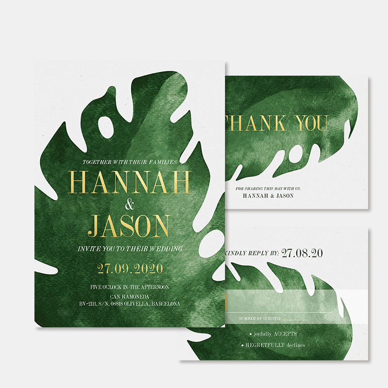 Tropical Philodendron Palm Leaves Modern Wedding Invitation PBWEDF045