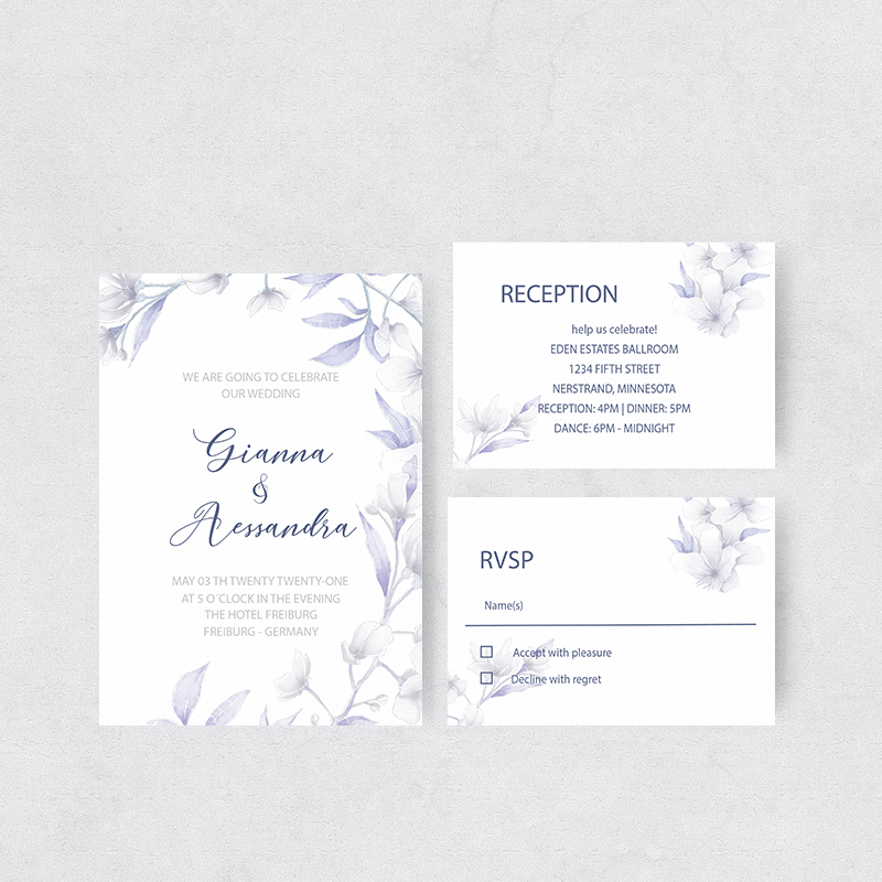 Comely Blue Wildflowers Watercolor Wedding Invitations PBWEDF047